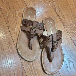 Harlow slip on beige leather push toe slipper